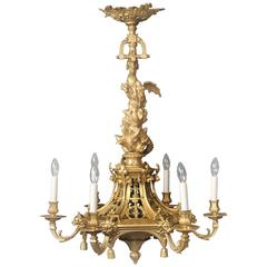 Interesting Late 19th Century Gilt Bronze Six-Light Chandelier