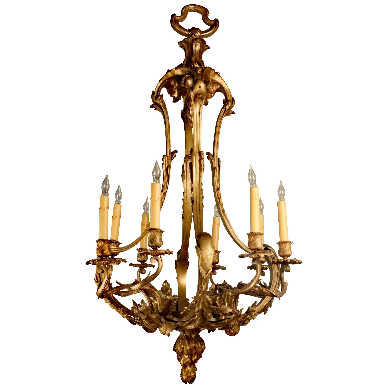 Belle Époque Louis XV Style Gilt Bronze Chandelier