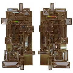 Pair of  Brass and Hand-Cut Crystal Sconces