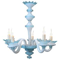 Handblown Blue Murano Glass Chandelier with Five Arms