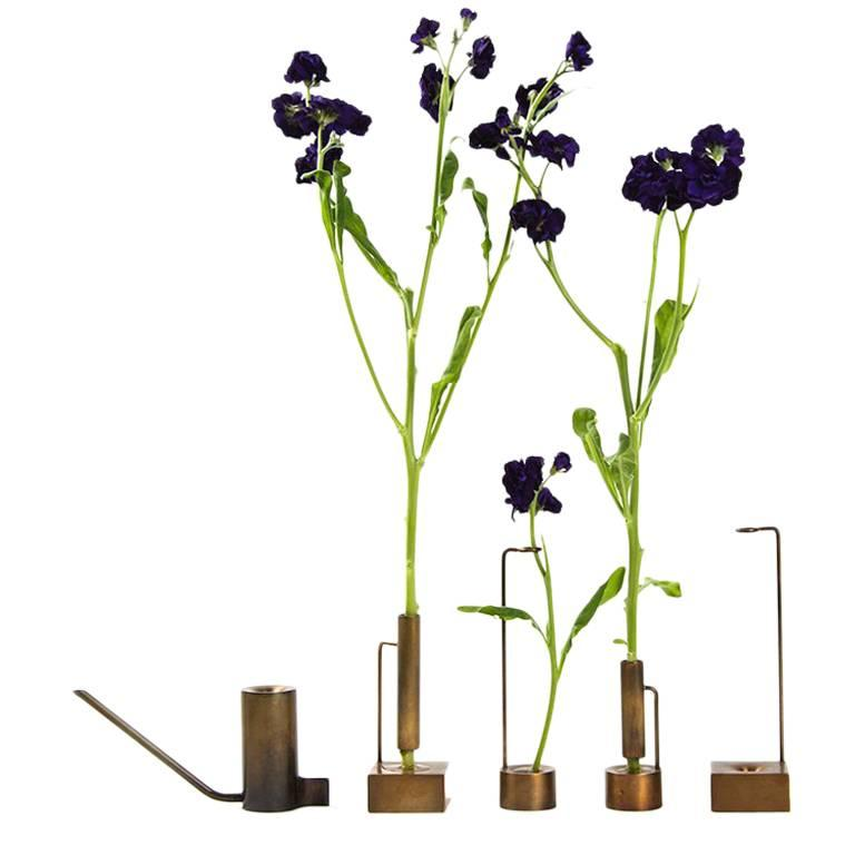 Bud Vase Collection, Including Four Vases and Watering Can For Sale