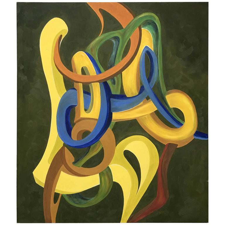 Green and Yellow Abstract Oil Painting by George Mullen