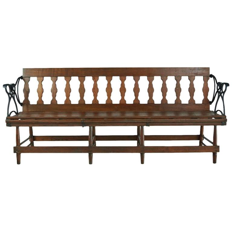Victorian Wood And Iron Reversible Railway Bench For Sale At 1stdibs