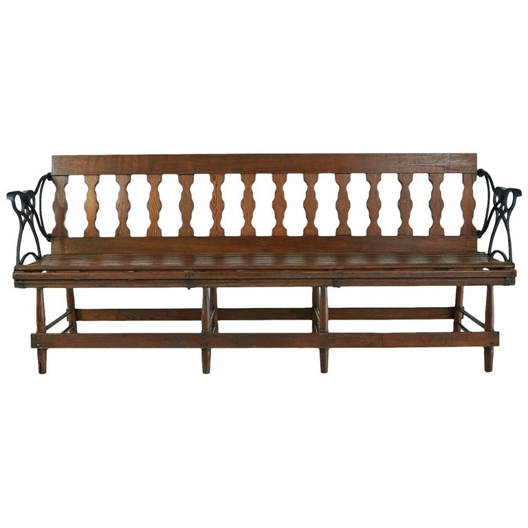 Fantastic Victorian Wood And Iron Reversible Railway Bench Bei 1Stdibs Machost Co Dining Chair Design Ideas Machostcouk