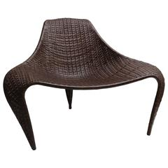 Biomorphic Form Chair in Dark Walnut Colored Woven Leather