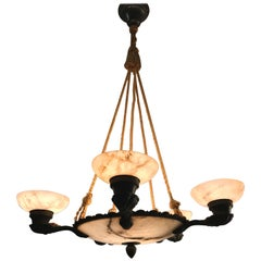 1920s Art Deco Alabaster and Bronze Six-Light Handcrafted Pendant or Chandelier