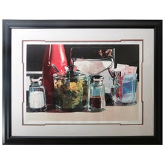 Framed Lithograph Still Life of an American Diner Table Scape by Ralph Goings