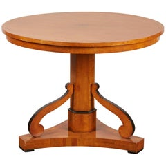 20th Century Swedish Cherry and Ebonized Biedermeier Pedestal Table