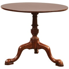 19th Century Queen Anne English Mahogany Pedestal Table