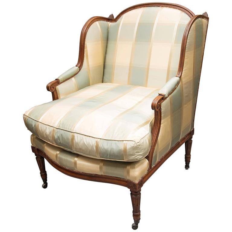 Louis xvi style upholstered chaise for sale at 1stdibs for Chaise louis xvi
