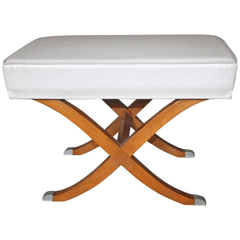 French Deco Style Saber Leg Wood Bench