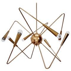 LU Brass Sputnik Chandelier by Lumfardo Luminaires