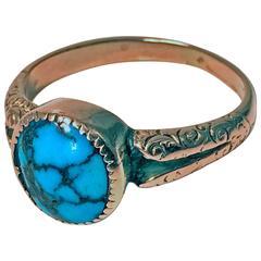 English Arts & Crafts Gold Turquoise Ring, Birmingham, 1906