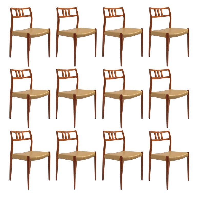 Eight J.L. Møller Model 79 Dining Chairs by Niels Møller in Leather For Sale