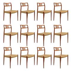 Set of Twelve J.L. Møller Model 79 Dining Chairs by Niels Møller in Leather