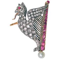 Mythical 19th Century French Griffin Lyre Ruby, Diamond, Pearl Gold Brooch