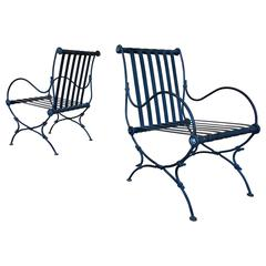 Pair of Forged Iron Garden Chairs   MOVING SALE!!!!