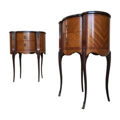 Pair of Italian Style Nightstands with Metal Mounts