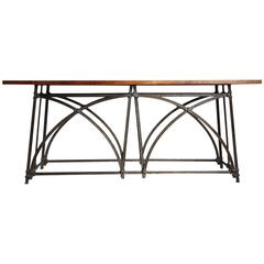 Grand Scrolled Iron and Wood Console Table, circa 1970