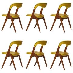 Johannes Andersen Yellow Leather Dining Chairs