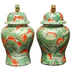 Pair of Lotus Blossom Temple Ginger Jars with Foo Dogs