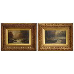 Pair of 19th Century Signed Oil on Board Landscapes