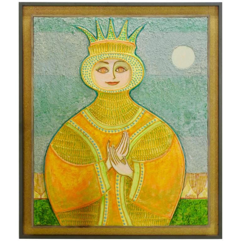 Mid-Century Signed 3D Painting of a Queen by John Nartker