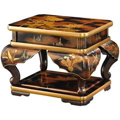 Meiji Period Gold Lacquer Two-Tiered Stand