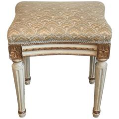 Louis XVI Style Paint and Gilt Upholstered Stool