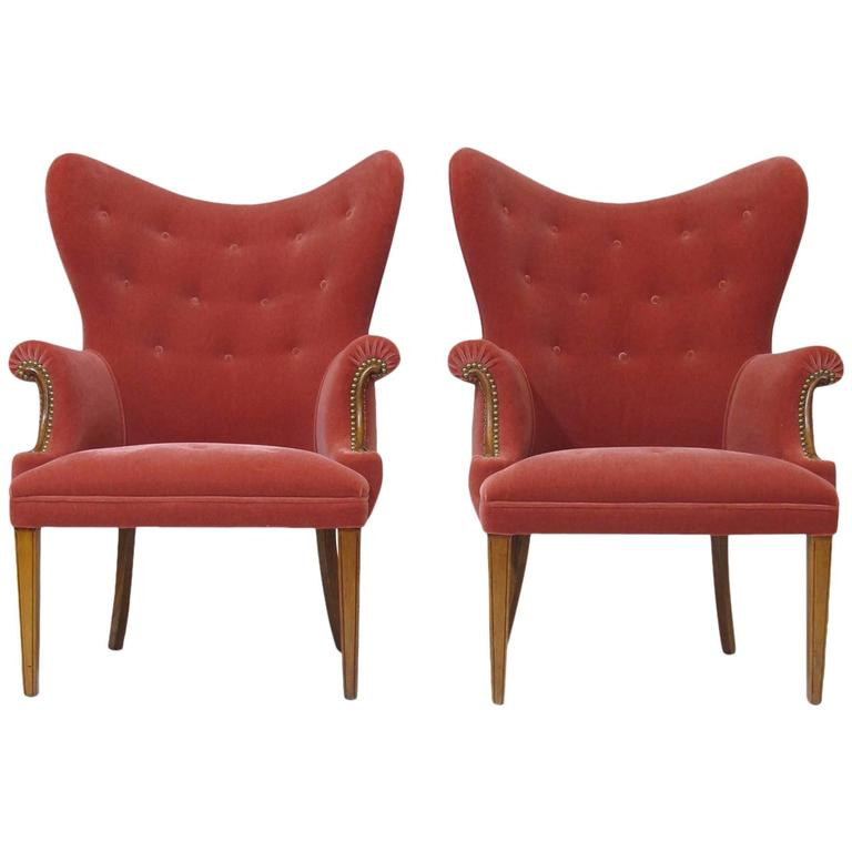 Highback Pink Mohair Lounge Chairs