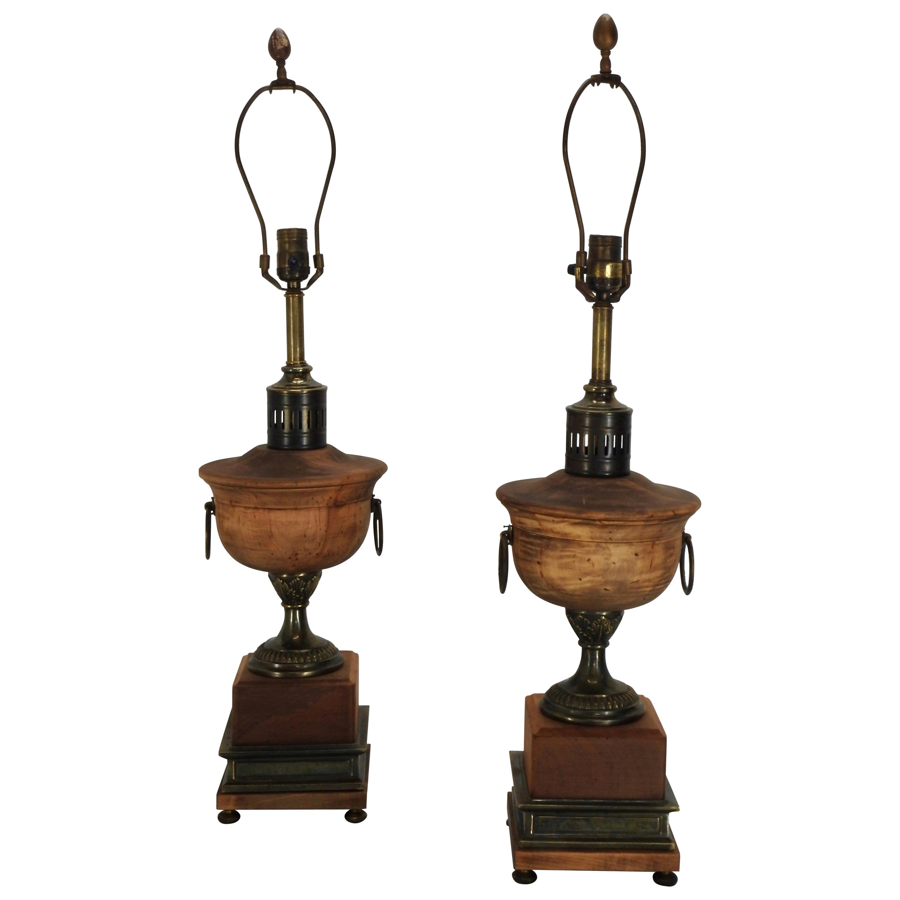 Frederick Cooper Metal and Wooden Lamps, Pair