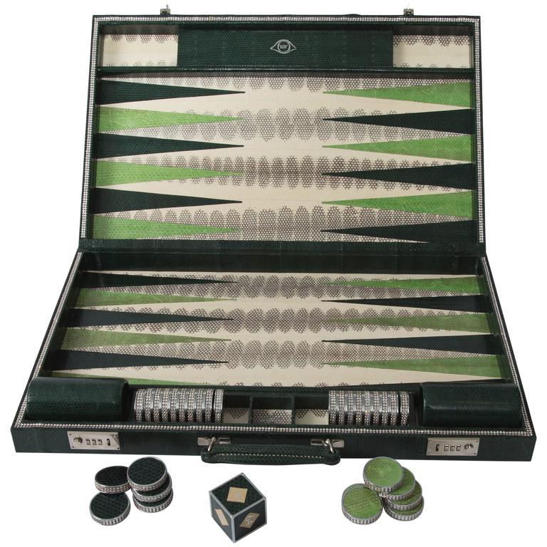 Geoffrey Parker-Emerald Snakeskin Backgammon Set