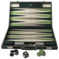 Geoffrey Parker-Emerald Snakeskin Backgammon Set