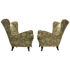 Pair of Italian Wing Back Lounge Chairs