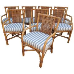Four Rattan Armchairs