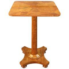 19th Century English Regency Birdseye Maple Occasional Pedestal Table