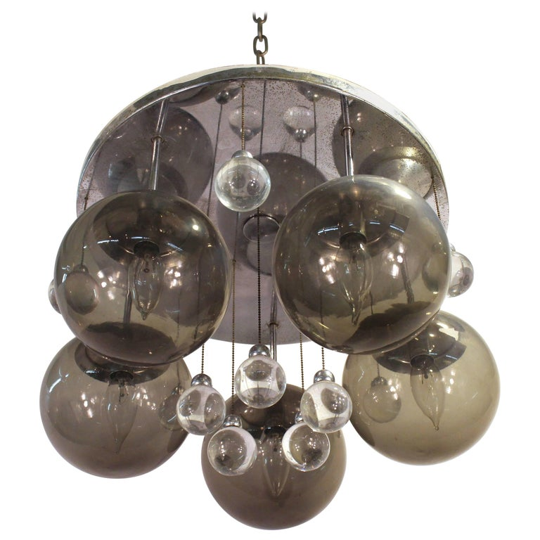 Mid-Century Chrome and Glass Balls Chandelier For Sale