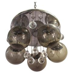 Mid-Century Chrome and Glass Balls Chandelier