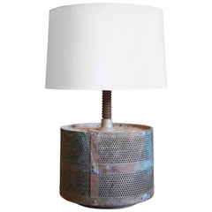 One of a Kind French Industrial French Metal and Iron Table Lamp, circa 1940