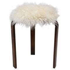 Mid-Century Faux Fur Stool