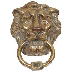 Early-Mid 20th Century Solid Brass Lion Door Knocker
