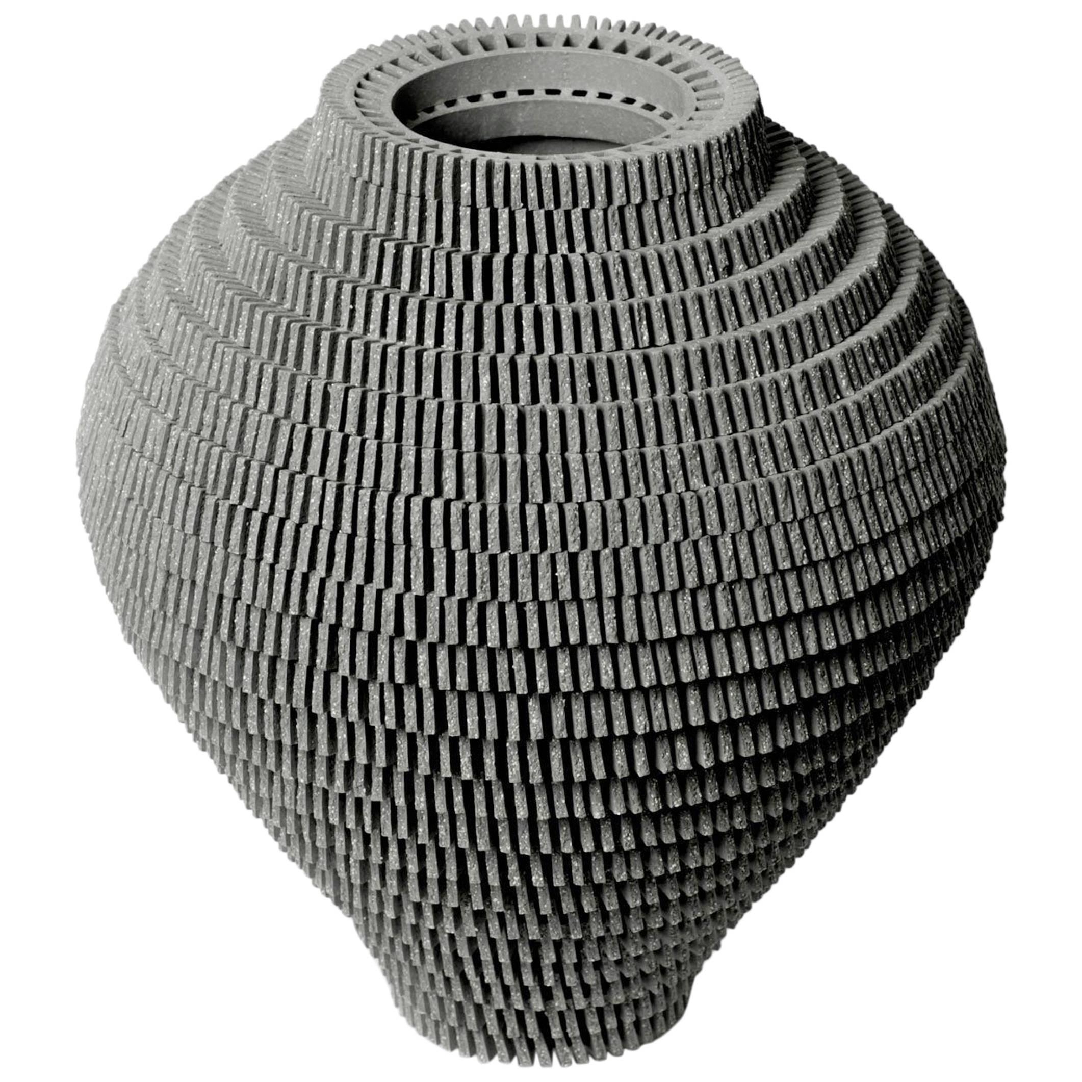 Contemporary Grey Ceramic Vessel by Bae Sejin