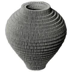 Contemporary Grey Ceramic Vessel by Bae Sejin