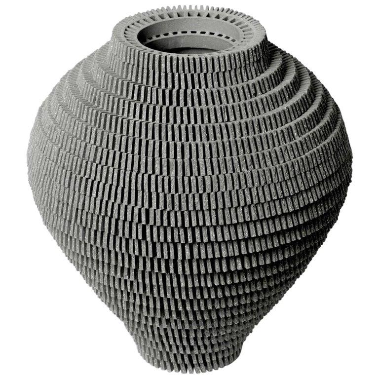 Contemporary Grey Ceramic Vessel by Bae Sejin For Sale