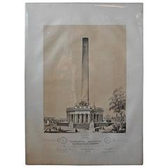 Mid-19th Century Washington Monument Broadside Lithograph