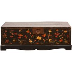 19th Century Qing Style Lacquer Painted Trunk with Butterfly Motifs