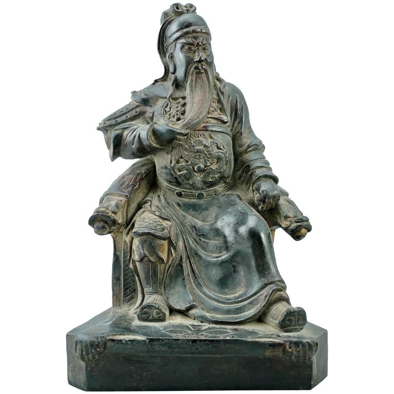 Qing 18th Century Bronze of Guan Yu Seated Emperor