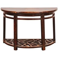 18th Century, Chinese Qing Demilune Table