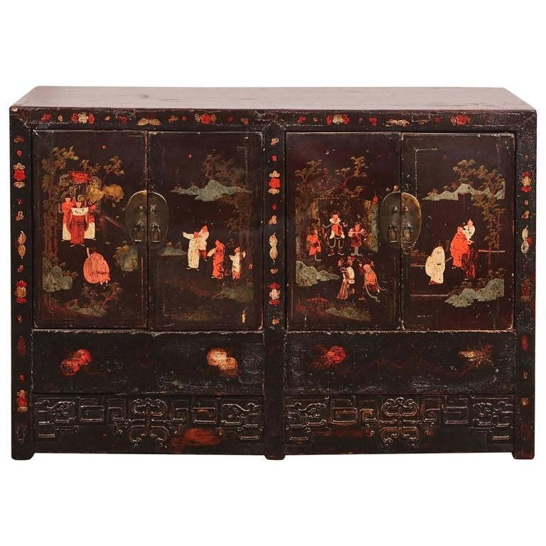 Late 18th Century Chinese Ming Style Black Lacquer Four Door Cabinet 1