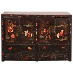 Late 18th Century Chinese Ming Style Black Lacquer Four-Door Cabinet